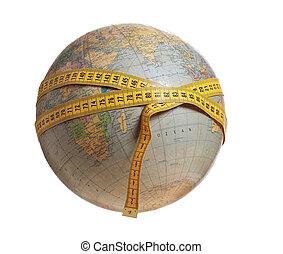 globo, nastro, giallo, misura