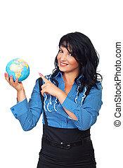 globo, negócio mulher, apontar