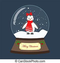 globo, neve, illustrazione, vettore, natale, pinguino