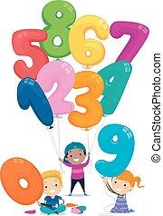 globo, niños, stickman, números, ilustración