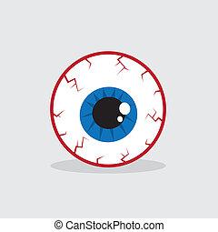 globo ocular, inyectado de sangre