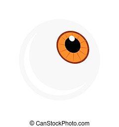 globo ocular, olho, marrom, laranja, aveleira, dia das bruxas, símbolo., ilustração, isolado, experiência., vetorial, pupila, branca