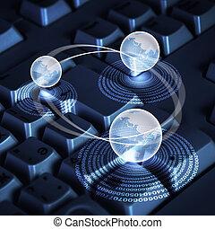 globo, ordenador teclado