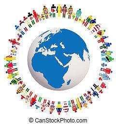 globo, paz, ilustración, vivo, conceptual, tierra