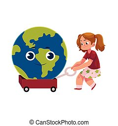 globo, personagem, carreta, puxando, terra, menina