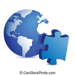 globo, pezzo, puzzle, illustrazione
