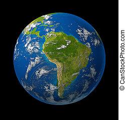 globo, pianeta, nero, terra, america, sud