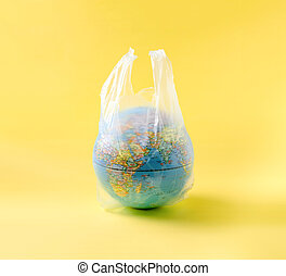 globo, plástico, meio ambiente, mundo, modelo, salvar, saco