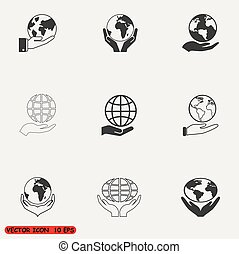 globo, presa, set, mano, icone