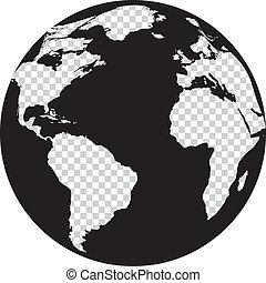 globo preto branco, com, transparência, continentes