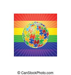 globo, quebra-cabeça, direitos alegres