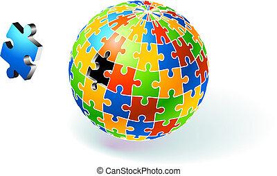 globo, quebra-cabeça, multi, incompleto, colorido