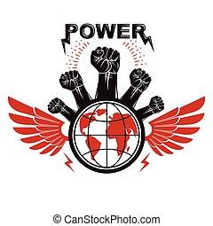globo, restrizioni, composto, illustration., anticonformista, rivoluzionario, elevato, no, vettore, stretto, volantino, limiti, concept., persone, pugni, marketing
