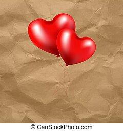 globo rojo, corazón, en, transparente, plano de fondo
