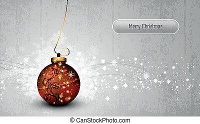 globo, saudação, prata, cartão, natal, bronze