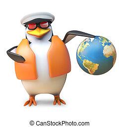 globo, segura, ilustração, marinheiro, náutico, lifejacket, ...