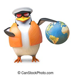 globo, segura, ilustração, marinheiro, náutico, lifejacket,...