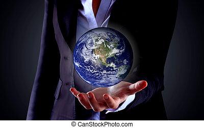 globo, segurando mão, negócio