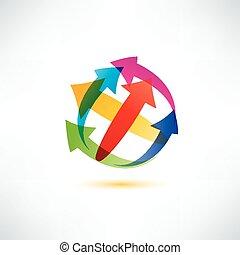 globo, seta, abstratos, vetorial, símbolo, negócio tecnologia, conc