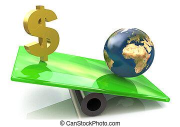 globo, sinal, dólar, escalas