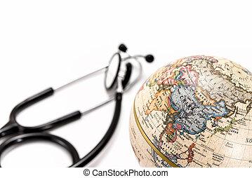 ), globo, stetoscopio, (asia