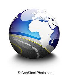 globo, strada, vista, spazio