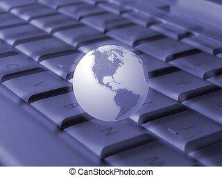 globo, teclado, y