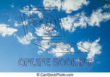 globo, tela, computador, industry:, avião, viagem