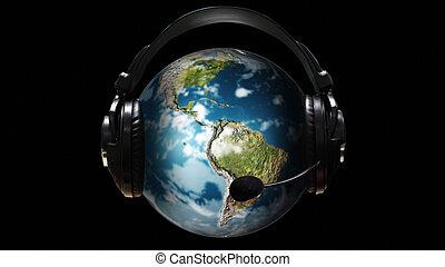 globo, telefonare, pezzo, intorno, orecchio