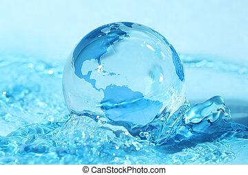 globo terráqueo de vidrio, en, agua