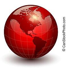 globo terra, 3d, icona
