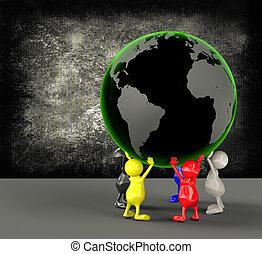 globo terra, 3d, presa a terra, persone