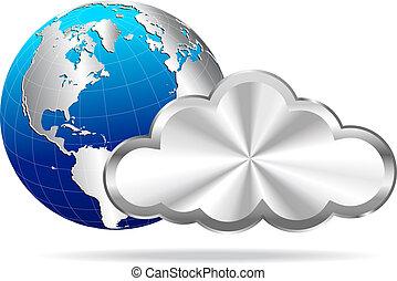 globo terra, argento, nuvola
