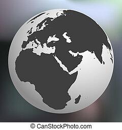 globo terra, astratto, fondo, contro