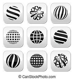 globo terra, bottoni, sfera, vettore