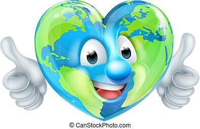 globo terra, carattere, cartone animato, cuore