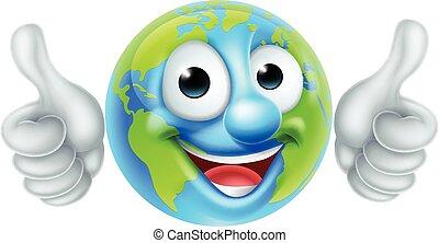 globo terra, carattere, cartone animato
