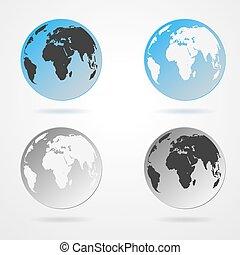 globo terra, cobrança, ícones