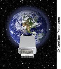 globo terra, collegamento, usb