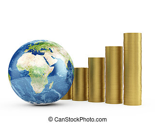 globo terra, com, dourado, moedas