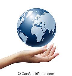 globo terra, donna, isolato, mani