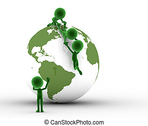 globo terra, e, conceitual, pessoas, junto