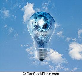 globo terra, e, tempestade, em, a, bulbo leve, ligado, um, céu azul, vibrante