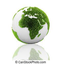 globo, terra, erba, verde