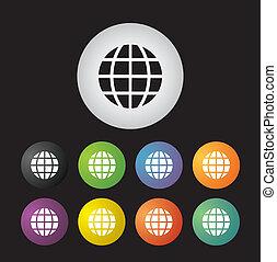 globo, terra, icona, set