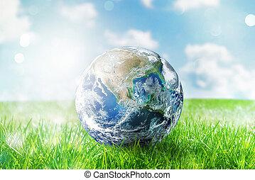 globo terra, in, uno, verde, pristino, field., mondo, purché, vicino, nasa