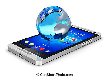 globo terra, ligado, smartphone