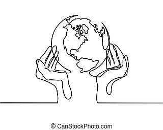 globo terra, mani umane