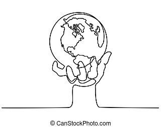 globo terra, mano umana