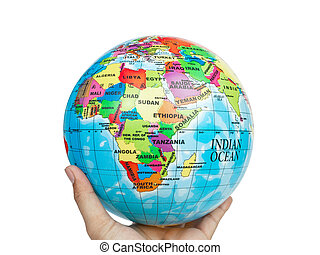 globo terra, mundo, em, mão